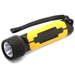 Latarka gumowana, kolor czarno-żółty, 1W LED, 60 LM