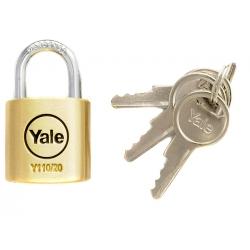 Yale Y110 20mm - kłódka mosiężna, 3 klucze w komplecie