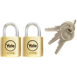 Yale Y110 20mm - kłódki mosiężne - opakowanie 2 szt., 3 klucze