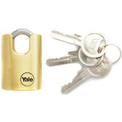 Yale Y110C 30mm - kłódka mosiężna z krytym pałąkiem, 3 klucze w komplecie