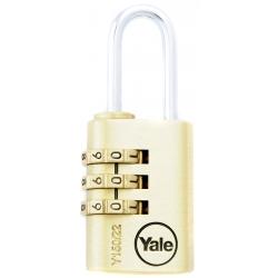 Yale Y150 22mm - mosiężna kłódka szyfrowa z możliwością zmiany kodu