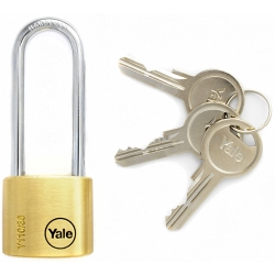 Yale Y110 30mm - brass padlock with a long handle, 3 keys included